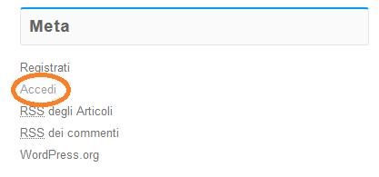 Nel widget Meta, fai click su Accedi.