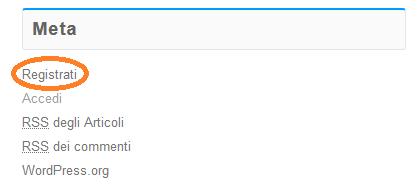 Nel widget Meta, fai click su Registrati.