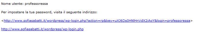 Messaggio contenente il link da seguire per impostare la propria password.