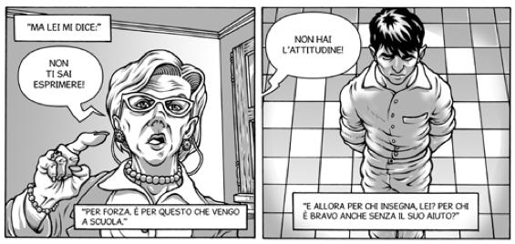 """Immagine tratta da """"Don Milani. Bestie, uomini e Dio"""" di Gabriele Ba e Riccardo Pagliarini"""