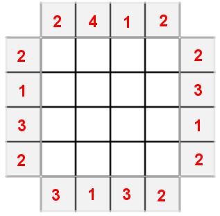 Gioco dei grattacieli (facile): griglia da completare (corretta)