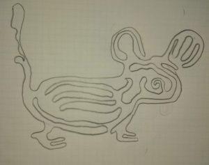 Una linea chiusa semplice che rappresenta un topo, disegnata da Yibo Wu.
